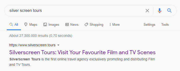 Silverscreen Tours product page